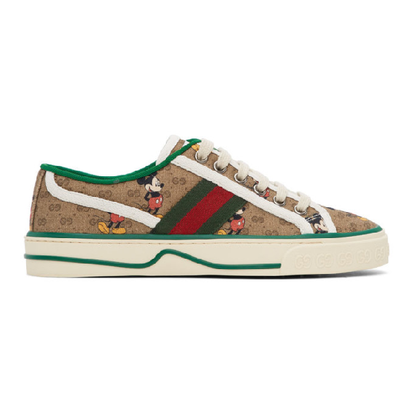 Gucci X Disney 1977 Gg Print Tennis Sneaker In Neutrals