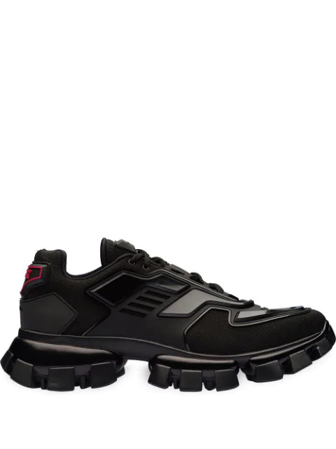 Prada Cloudbust Thunder Knit And Rubber Sneakers In Black