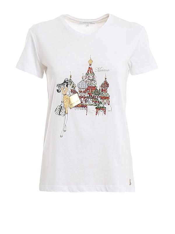 Patrizia Pepe Moscow Logo Printed Embellished T-shirt In White