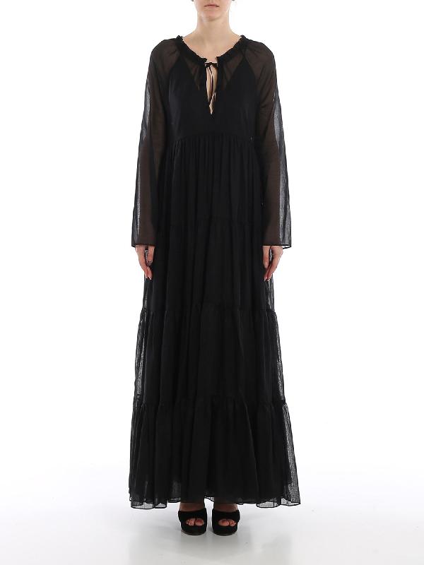 Ermanno Scervino Cotton Muslin Maxi Dress In Black