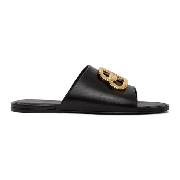 Balenciaga Oval Bb Logo-embellished Leather Slides In Black/gold