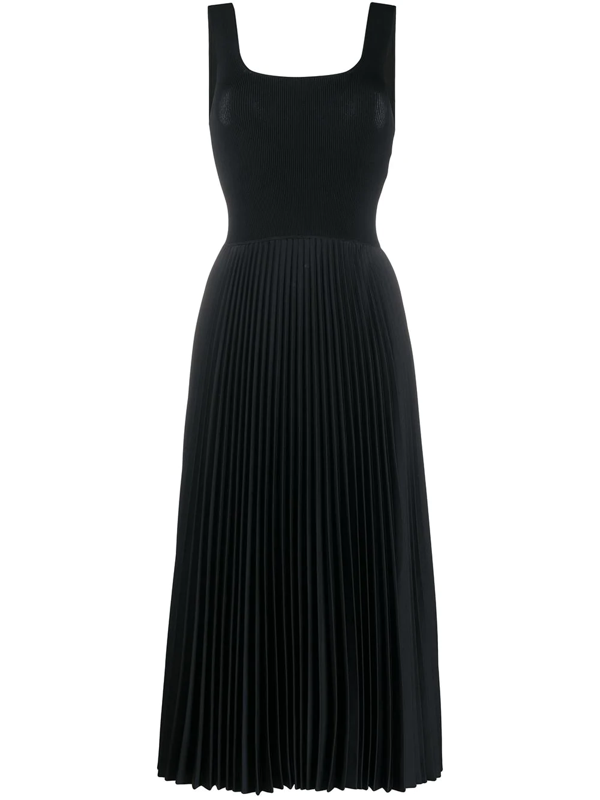 Theory Ribbed-knit And Pleated Satin-crepe Midi Dress In Black