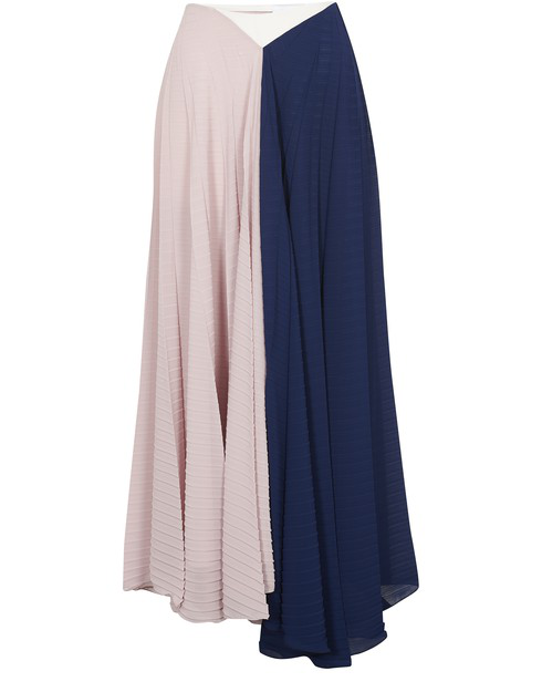 Roland Mouret Orvana Color-block Pleated Georgette And Crepe Maxi Skirt In Navy