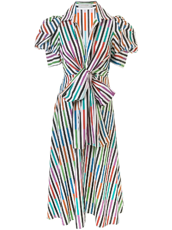 Silvia Tcherassi Roopal Tie-front Striped Cotton-poplin Midi Shirt Dress In Multicolour