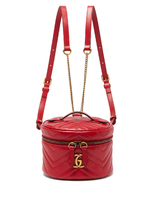Gucci Gg Marmont Mini Leather Backpack In Red