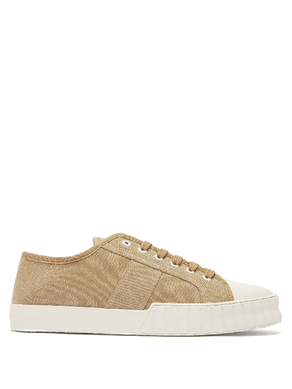 Primury Divid Cotton-canvas Trainers In Beige