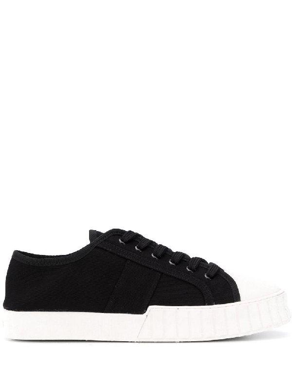 Primury Divid Recycled-canvas Trainers In Black