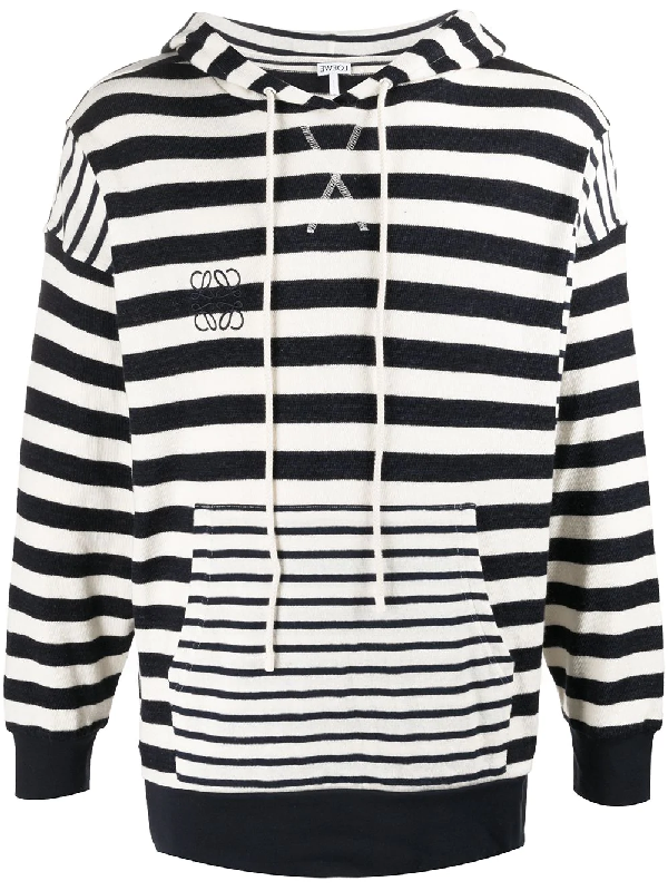 Loewe Anagram Striped Cotton-knit Hooded Sweater In Blue