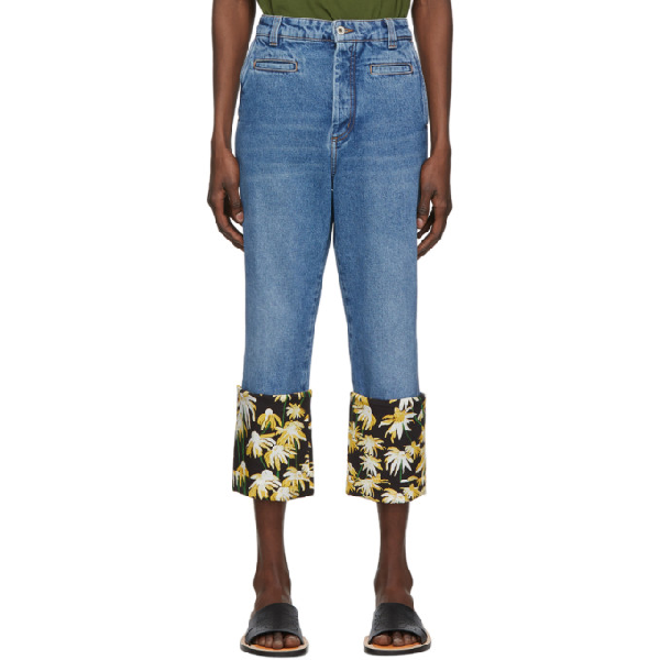 Loewe Fisherman Floral-print Turn-up Cuff Jeans In 5100 Blue