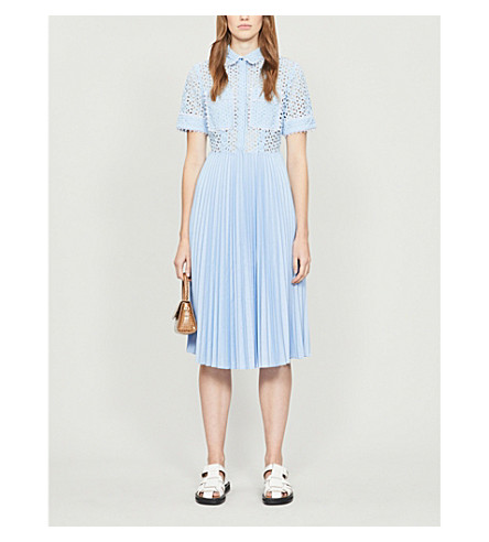 Claudie Pierlot Broderie Anglaise Pleated Cotton Midi Dress In Bleuciel