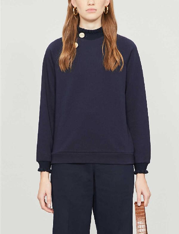 Claudie Pierlot Tapee Button Cotton-blend Sweatshirt In Navy