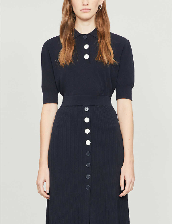 Claudie Pierlot Cropped Stretch-jersey Top In Navy