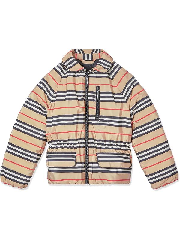 Burberry Girls' Mollie Icon-stripe Down Jacket - Little Kid, Big Kid In Beige