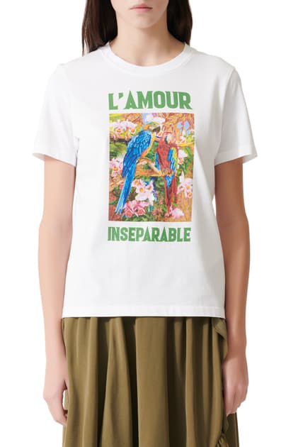 Maje L'amour Inseparable Cotton-jersey T-shirt In Ecru