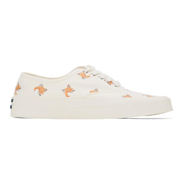 Maison Kitsuné Maison Kitsune White Allover Fox Head Sneakers