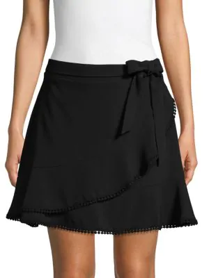 Cupcakes And Cashmere Pom-pom Ruffle Mini Skirt In Black