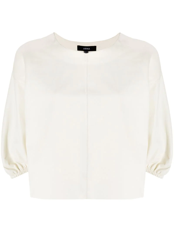 Arma Cropped Leather T-shirt In White