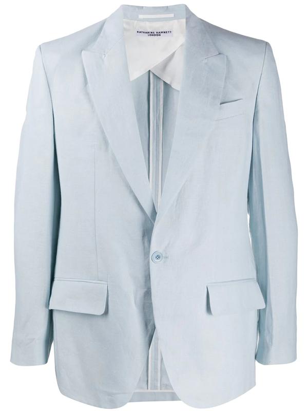 Katharine Hamnett Single Breasted Blazer In Blue