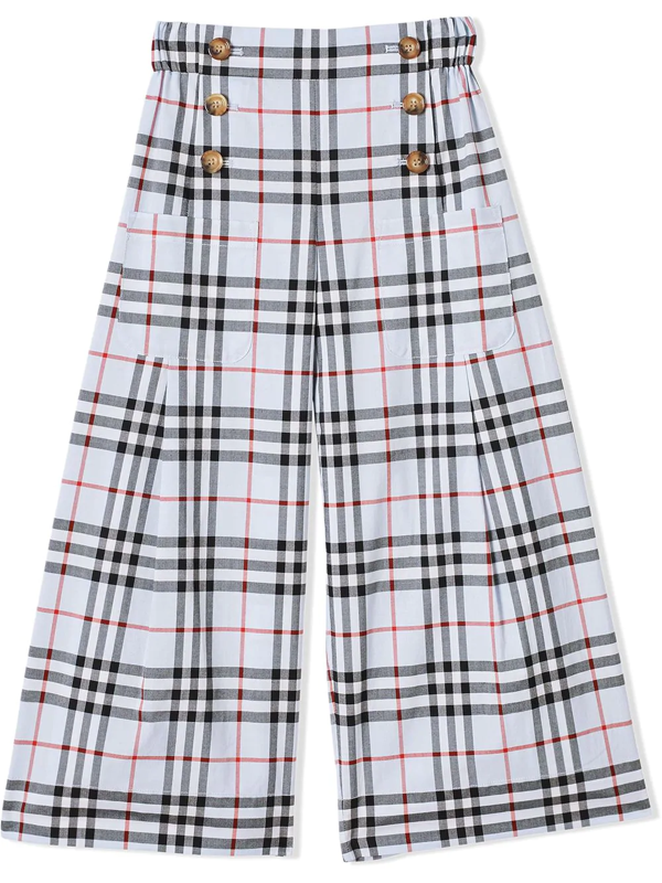 Burberry Kids Check Trousers (3-14 Years) In Blue