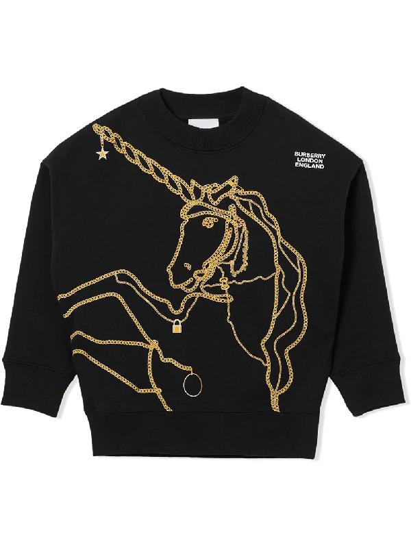 Burberry Kids Cotton Unicorn Sweater (3-12 Years) In Black