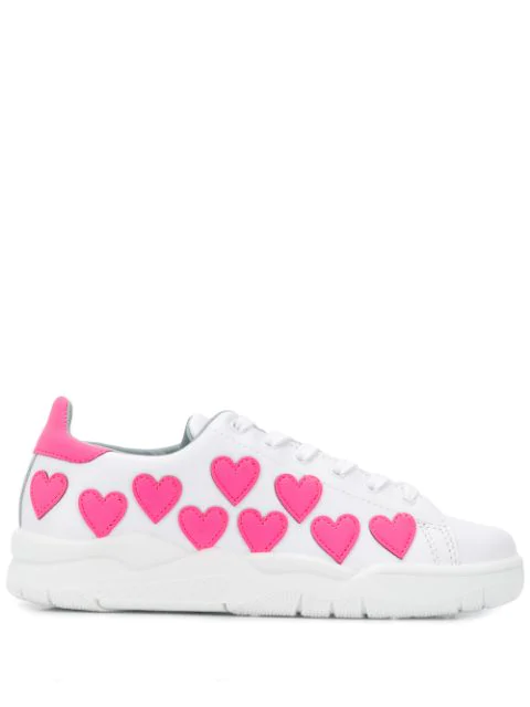Chiara Ferragni Roger Sneaker In White Leather With Fluorescent Pink Hearts