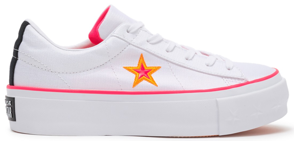 Pre-owned Converse  One Star Platform Carnival Colourblock (w) In White/racer Pink-orange Rind