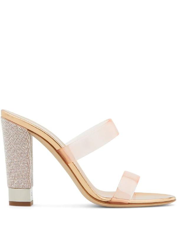 Giuseppe Zanotti Aurelia Embellished-heel Sandals In Gold