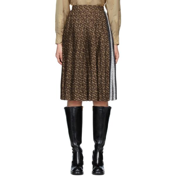 Burberry Marine Tb-print Pleated Crepe Midi Skirt In Dark Mocha Ip Pttn