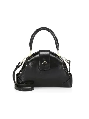 Manu Atelier Women's Demi Leather Dome Top Handle Bag In Black