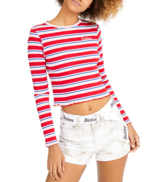 Dickies Stripe Long-sleeve Crop T-shirt In Red