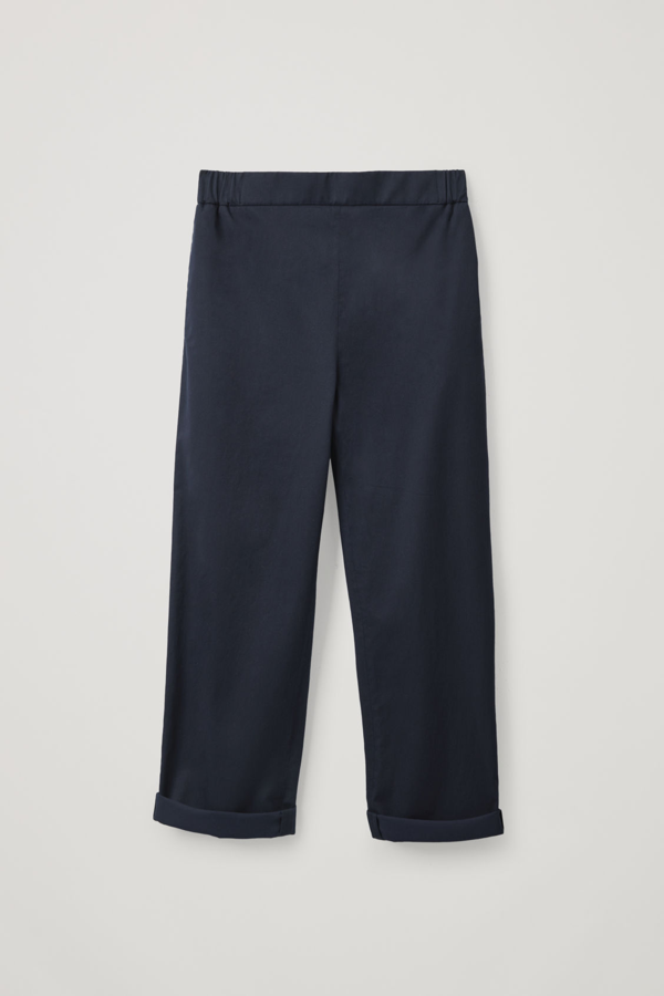 Cos Cropped Cotton Poplin Trousers In Blue