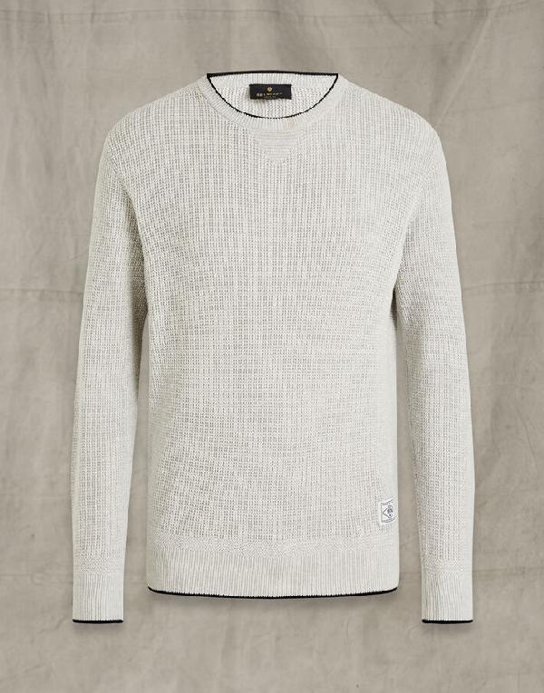 Belstaff Cotton Crew Neck Sweater In Grey