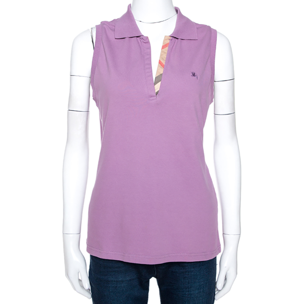Burberry Purple Cotton Sleeveless Polo T-shirt Xl