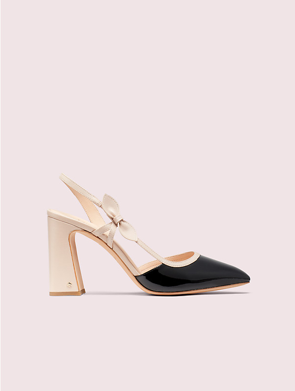 Kate Spade Adelaide Leather Slingback Pumps In Black/pale Vellum
