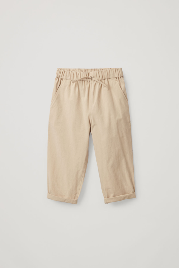 Cos Kids' Drawstring Cotton Trousers In Beige