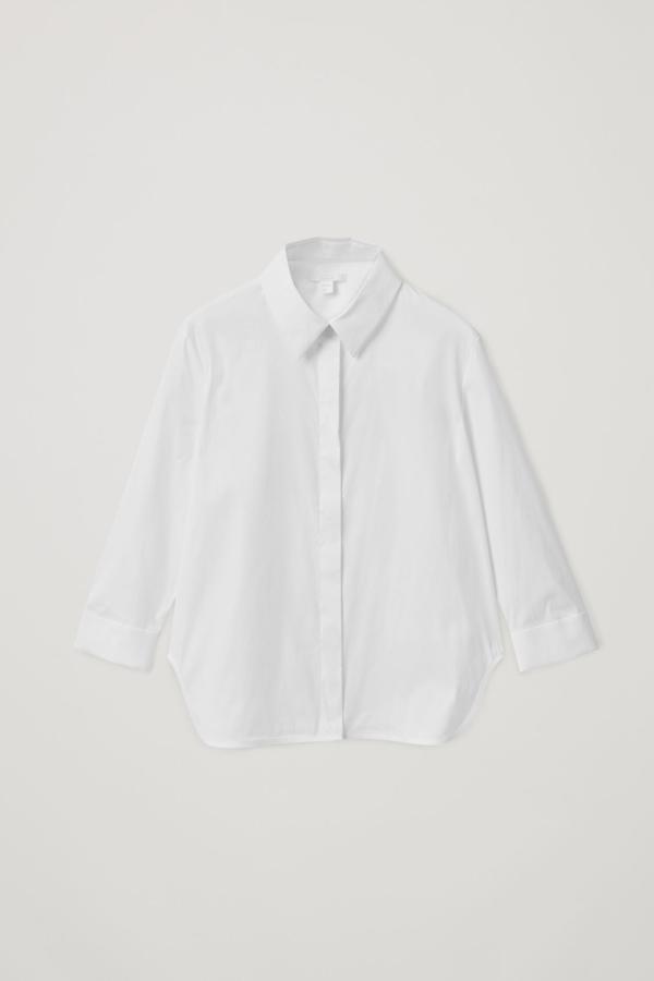 Cos Shrunken Cotton-mix Shirt In White
