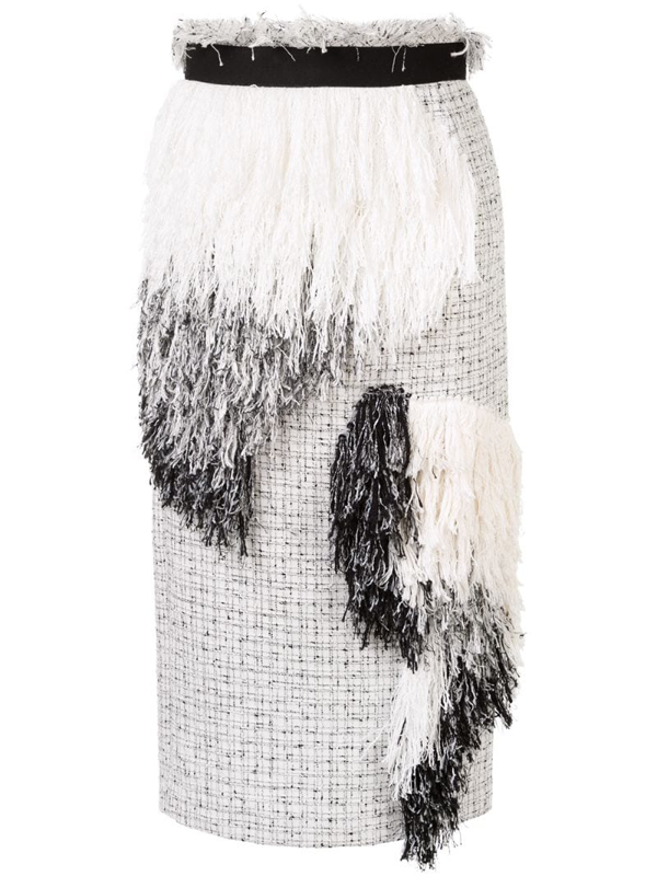 Sacai Asymmetric Fringe Patch Tweed Pencil Skirt In White