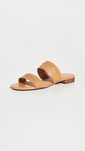 Madewell The Boardwalk Double Strap Slide Sandal In Desert Camel