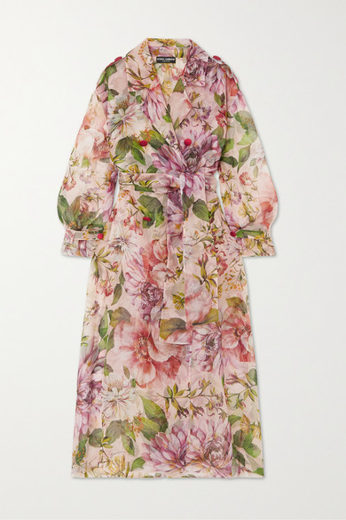Dolce & Gabbana Floral-print Silk-organza Trench Coat In Pink