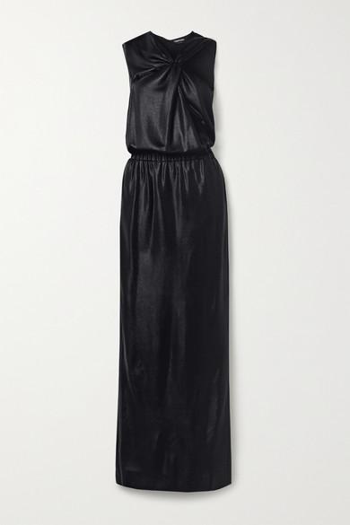 Tom Ford Cutout Draped Stretch Satin-piquÉ Gown In Black