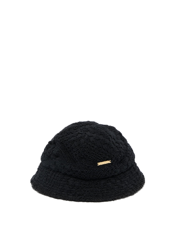 Marine Serre Cotton Terry-towelling Bucket Hat In Black