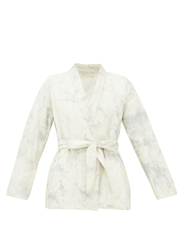 Mes Demoiselles Cumulus Quilted Cotton Wrap Jacket In Blue White