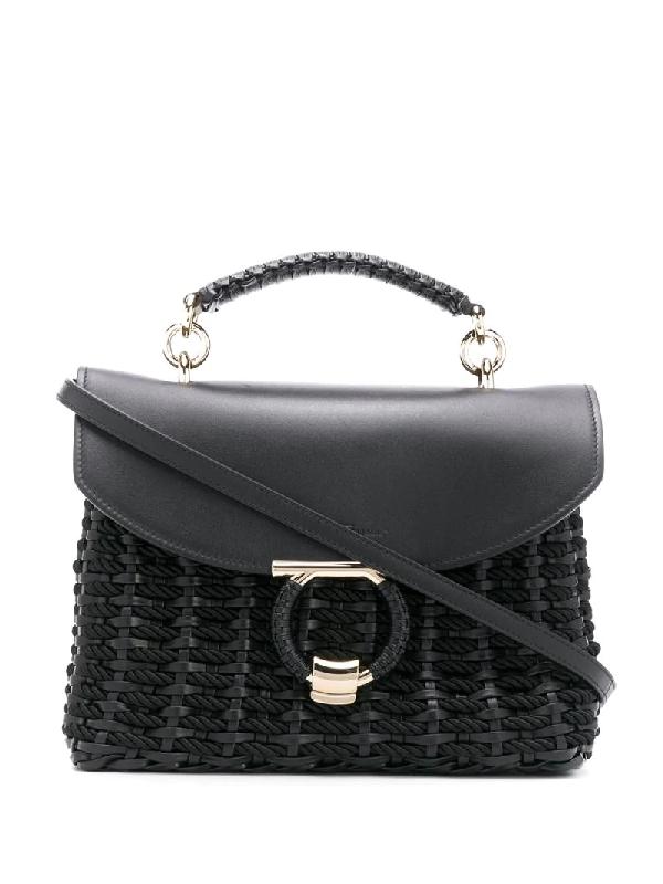 Salvatore Ferragamo Margot Leather Handbag In Black