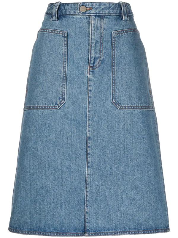 A.p.c. Nevada Patch-pocket Denim Skirt In Blue