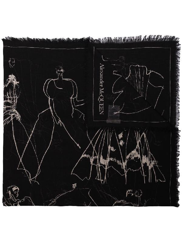 Alexander Mcqueen Dancing Girls Print Scarf In Black
