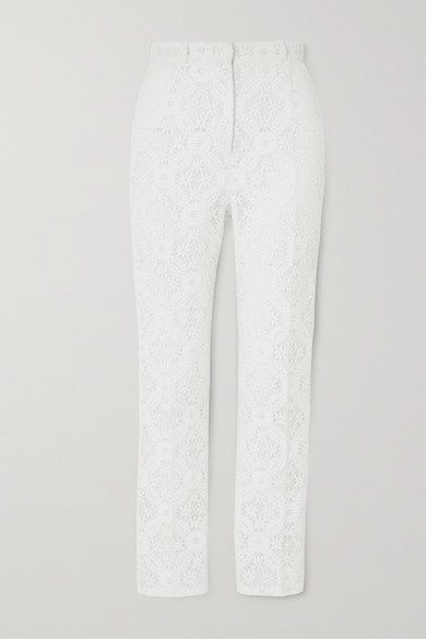 Alexander Mcqueen Endangered Flower Lace Cigarette Trousers In White