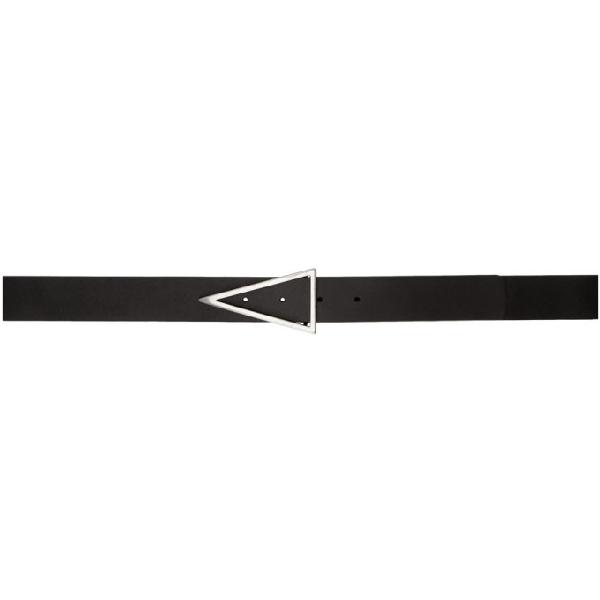 Bottega Veneta Triangular Buckle Leather Belt In 8803 Black