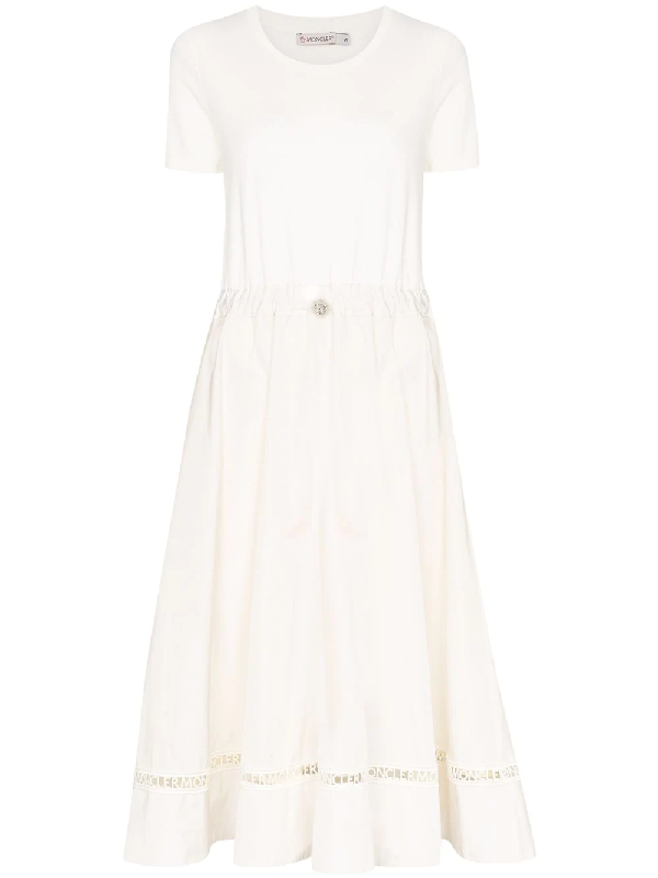 Moncler Knit & Poplin Midi Dress W/ Logo Lace In White