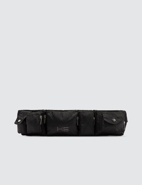 Heliot Emil Multi-pocket Logo Embroidered Belt Bag In Black