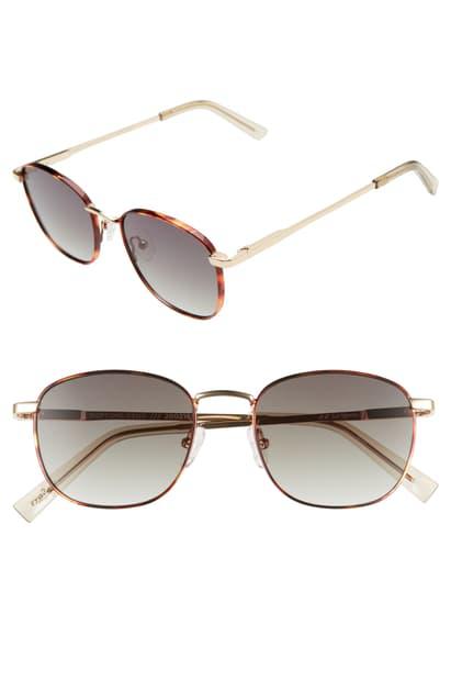 Le Specs Neptune Deux Core 52mm Round Sunglasses In Tort Gold/ Khaki